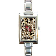 Animal Tissue And Flowers Rectangle Italian Charm Watch