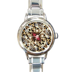 Animal Tissue And Flowers Round Italian Charm Watch