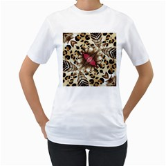 Animal Tissue And Flowers Women s T Shirt (white) (two Sided)