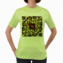 Animal Tissue And Flowers Women s Green T Shirt