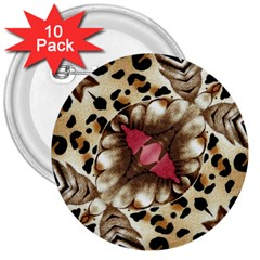 Animal Tissue And Flowers 3  Buttons (10 Pack)