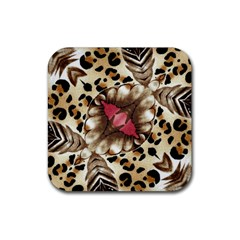 Animal Tissue And Flowers Rubber Coaster (square)