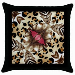 Animal Tissue And Flowers Throw Pillow Case (black)