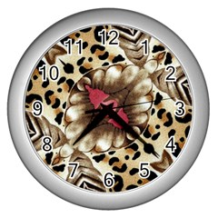 Animal Tissue And Flowers Wall Clocks (silver)