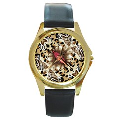 Animal Tissue And Flowers Round Gold Metal Watch