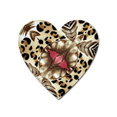 Animal Tissue And Flowers Heart Magnet