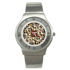 Animal Tissue And Flowers Stainless Steel Watch