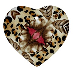 Animal Tissue And Flowers Heart Ornament (two Sides)