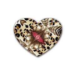 Animal Tissue And Flowers Heart Coaster (4 Pack)