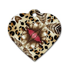 Animal Tissue And Flowers Dog Tag Heart (one Side)