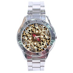Animal Tissue And Flowers Stainless Steel Analogue Watch
