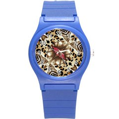 Animal Tissue And Flowers Round Plastic Sport Watch (s)