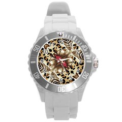 Animal Tissue And Flowers Round Plastic Sport Watch (l)