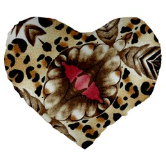 Animal Tissue And Flowers Large 19  Premium Heart Shape Cushions