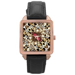 Animal Tissue And Flowers Rose Gold Leather Watch