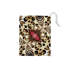 Animal Tissue And Flowers Drawstring Pouches (small)