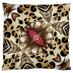 Animal Tissue And Flowers Large Flano Cushion Case (one Side)