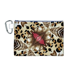Animal Tissue And Flowers Canvas Cosmetic Bag (m)