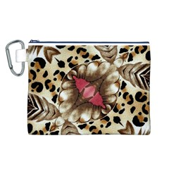 Animal Tissue And Flowers Canvas Cosmetic Bag (l)