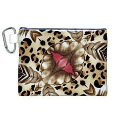 Animal Tissue And Flowers Canvas Cosmetic Bag (xl)