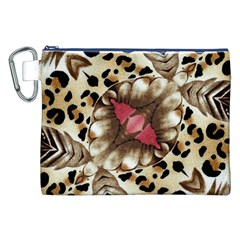 Animal Tissue And Flowers Canvas Cosmetic Bag (xxl)