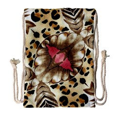Animal Tissue And Flowers Drawstring Bag (large)
