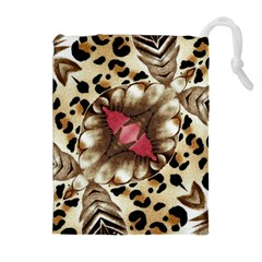 Animal Tissue And Flowers Drawstring Pouches (Extra Large)