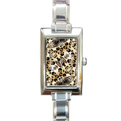 Background Fabric Animal Motifs And Flowers Rectangle Italian Charm Watch