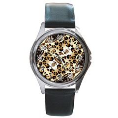 Background Fabric Animal Motifs And Flowers Round Metal Watch