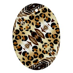 Background Fabric Animal Motifs And Flowers Ornament (oval)