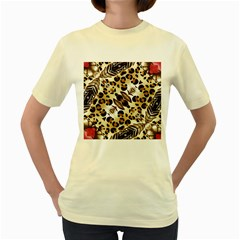 Background Fabric Animal Motifs And Flowers Women s Yellow T Shirt