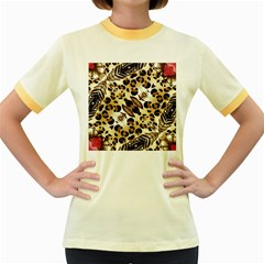 Background Fabric Animal Motifs And Flowers Women s Fitted Ringer T Shirts