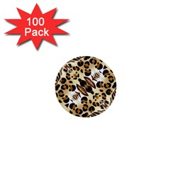 Background Fabric Animal Motifs And Flowers 1  Mini Buttons (100 Pack)