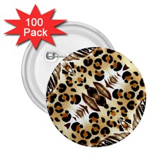 Background Fabric Animal Motifs And Flowers 2.25  Buttons (100 pack)