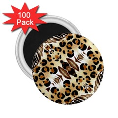 Background Fabric Animal Motifs And Flowers 2 25  Magnets (100 Pack)