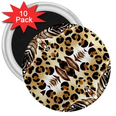 Background Fabric Animal Motifs And Flowers 3  Magnets (10 Pack)