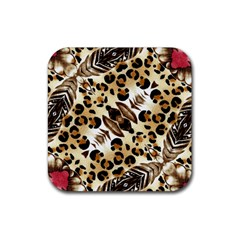 Background Fabric Animal Motifs And Flowers Rubber Square Coaster (4 Pack)