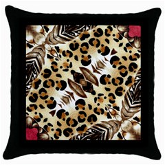 Background Fabric Animal Motifs And Flowers Throw Pillow Case (black)