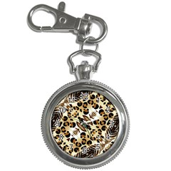 Background Fabric Animal Motifs And Flowers Key Chain Watches