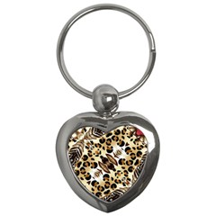Background Fabric Animal Motifs And Flowers Key Chains (heart)