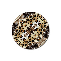 Background Fabric Animal Motifs And Flowers Rubber Round Coaster (4 Pack)