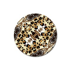 Background Fabric Animal Motifs And Flowers Magnet 3  (round)