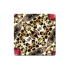 Background Fabric Animal Motifs And Flowers Square Magnet