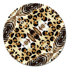 Background Fabric Animal Motifs And Flowers Magnet 5  (round)