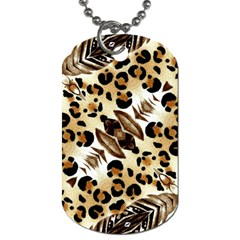 Background Fabric Animal Motifs And Flowers Dog Tag (two Sides)