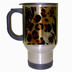Background Fabric Animal Motifs And Flowers Travel Mug (silver Gray)
