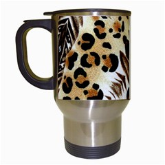 Background Fabric Animal Motifs And Flowers Travel Mugs (white)