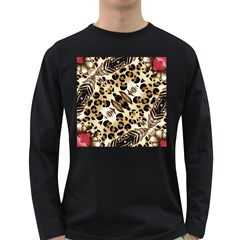Background Fabric Animal Motifs And Flowers Long Sleeve Dark T Shirts