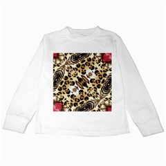 Background Fabric Animal Motifs And Flowers Kids Long Sleeve T-Shirts