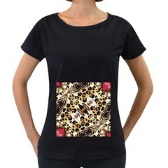 Background Fabric Animal Motifs And Flowers Women s Loose-Fit T-Shirt (Black)